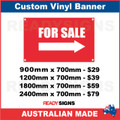 FOR SALE ( ARROW )   - CUSTOM VINYL BANNER SIGN