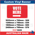 VOTE HERE ( ARROW )  - CUSTOM VINYL BANNER SIGN