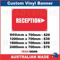 RECEPTION ( ARROW ) - CUSTOM VINYL BANNER SIGN