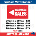 ( ARROW )  SHOWROOM SALES  - CUSTOM VINYL BANNER SIGN