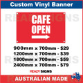 CAFE OPEN ( ARROW )  - CUSTOM VINYL BANNER SIGN