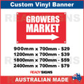 GROWERS MARKET ( ARROW ) - CUSTOM VINYL BANNER SIGN