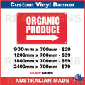 ORGANIC PRODUCE ( ARROW ) - CUSTOM VINYL BANNER SIGN