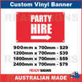 PARTY HIRE ( ARROW ) - CUSTOM VINYL BANNER SIGN