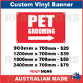 PET GROOMING ( ARROW ) - CUSTOM VINYL BANNER SIGN