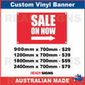 SALE ON NOW ( ARROW ) - CUSTOM VINYL BANNER SIGN