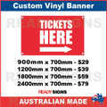 TICKETS HERE ( ARROW ) - CUSTOM VINYL BANNER SIGN