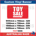 TOY SALE ( ARROW ) - CUSTOM VINYL BANNER SIGN