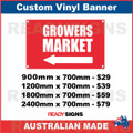 ( ARROW )  GROWERS MARKET - CUSTOM VINYL BANNER SIGN