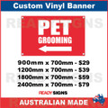 ( ARROW )  PET GROOMING - CUSTOM VINYL BANNER SIGN