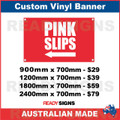 ( ARROW )  PINK SLIPS - CUSTOM VINYL BANNER SIGN