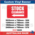 ( ARROW )  STOCK CLEARANCE - CUSTOM VINYL BANNER SIGN