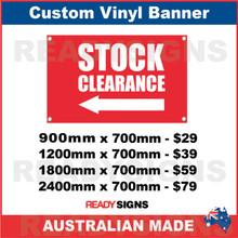 ( ARROW )  STOCK CLEARANCE - CUSTOM VINYL BANNER SIGN