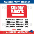 ( ARROW )  SUNDAY MARKETS - CUSTOM VINYL BANNER SIGN