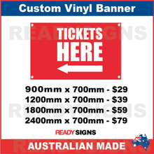 ( ARROW )  TICKETS HERE - CUSTOM VINYL BANNER SIGN