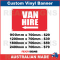 ( ARROW )  VAN HIRE - CUSTOM VINYL BANNER SIGN