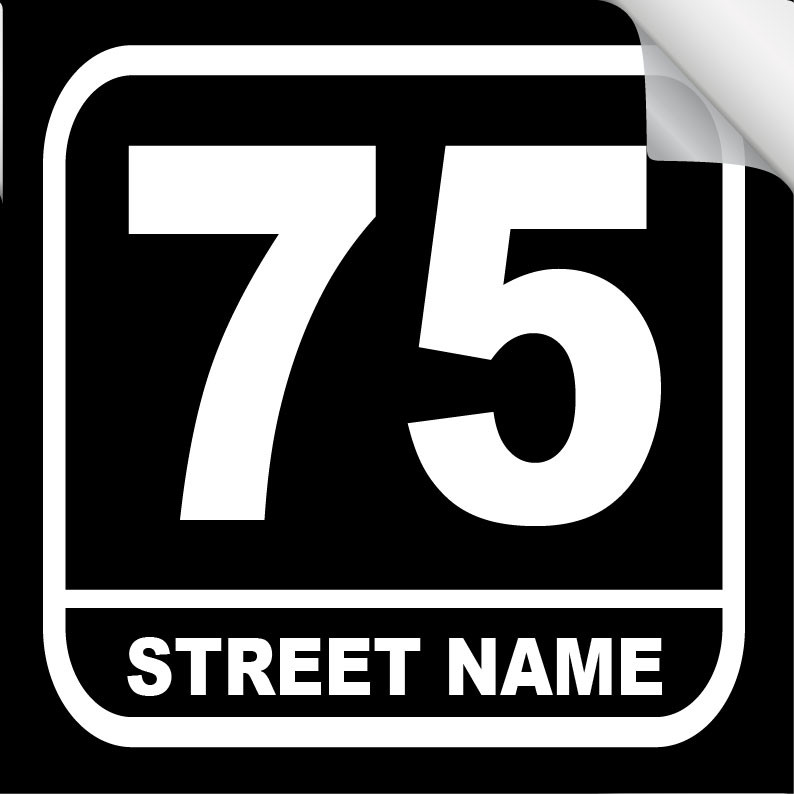 1b24f109e569 Bin Sticker Numbers (Set of 4) - Style 3/Black-White - Property Signs