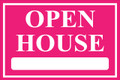 Open House Sign Classic Style- Pink