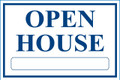 Open House Sign Classic Style- Wt/Blu