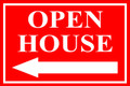 Open House Sign Classic Left Arrow - Red