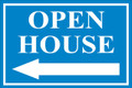 Open House Sign Classic Left Arrow - Light Blue