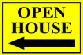 Open House Sign Classic Left Arrow - Yellow