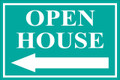 Open House Sign Classic Left Arrow - Teal