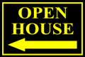 Open House Sign Classic Left Arrow - Blk/Ylw