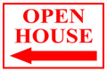 Open House Sign Classic Left Arrow - White/Red