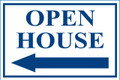 Open House Sign Classic Left Arrow - White/Blue