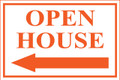 Open House Sign Classic Left Arrow - Wt/Og