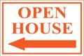 Open House Sign Classic Left Arrow - Wt/Og