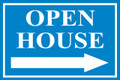 Open House Sign Classic Right Arrow - Light Blue