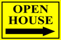 Open House Sign Classic Right Arrow - Yellow