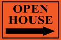 Open House Sign Classic Right Arrow - Orange