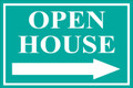 Open House Sign Classic Right Arrow - Teal