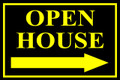 Open House Sign Classic Right Arrow - Black/Ylw