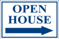 Open House Sign Classic Right Arrow - White/Blue