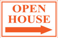Open House Sign Classic Right Arrow - White/Orange