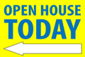 Open House Today - Left Arrow - Yellow/Blue