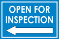 Open For Inspection  - Classic Left Arrow - Blue