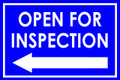 Open For Inspection  - Classic Left Arrow - Bright Blue