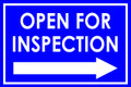 Open For Inspection  - Classic Right Arrow - Bright Blue