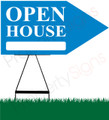 Open House RIGHT Arrow Sign - Blue