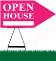 Open House RIGHT Arrow Sign - Pink