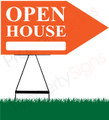 Open House RIGHT Arrow Sign - Orange
