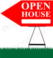 Open House LEFT Arrow Pointer Sign - Red