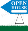 Open House LEFT Arrow Pointer Sign - Blue