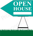 Open House LEFT Arrow Pointer Sign - Teal