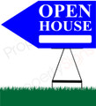 Open House LEFT Arrow Pointer Sign - Bright Blue